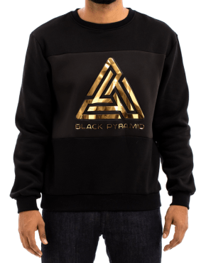 BLACK PYRAMID Embossed Gold Logo Crewneck