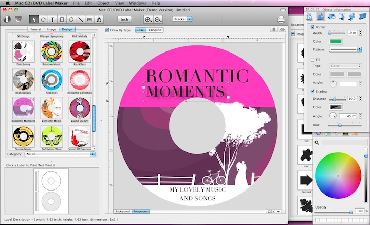 Cristallight Software - Mac CD/DVD label maker and disc cover design - cd label templates