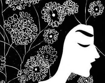 Cabeza con flores
