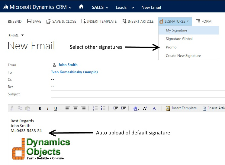 Dynamics Signature - Just Like in Outlook - CRM Software Blog