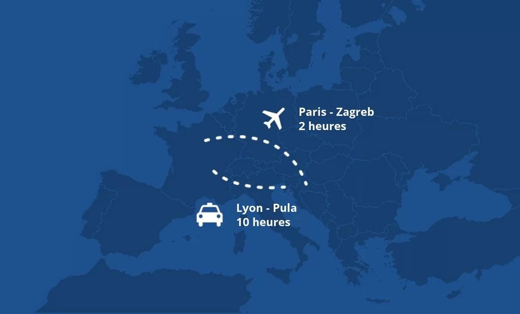 carte croatie distance france