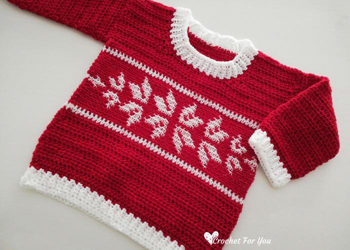 Crochet Winter Snowflake Baby Sweater Free Pattern 4