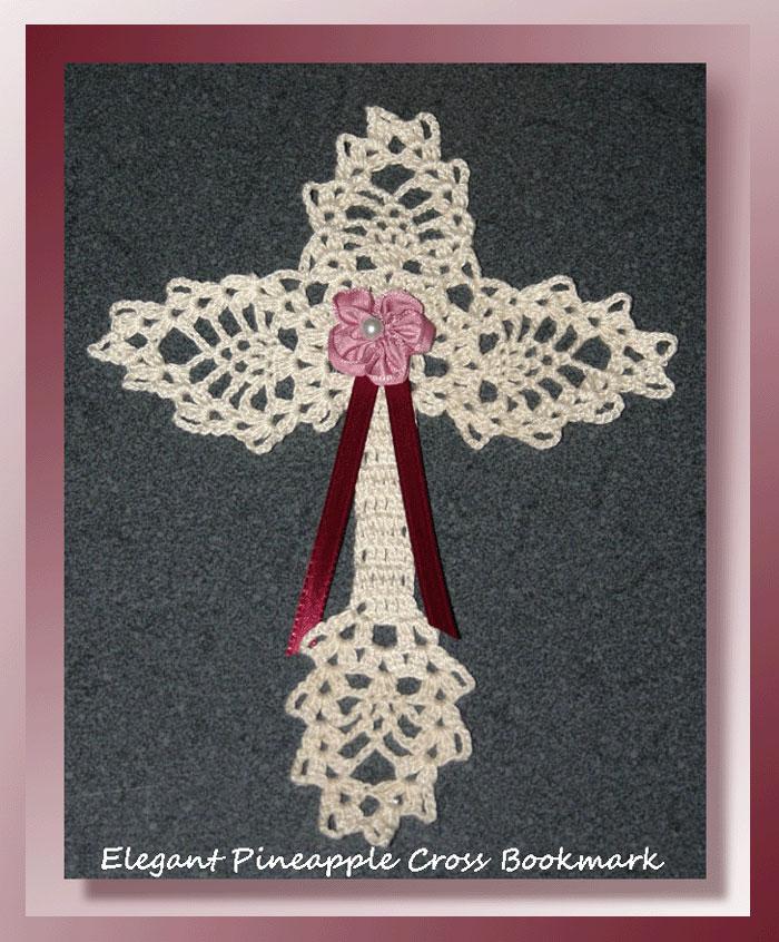 Elegant Pineapple Cross Bookmark Crochet Religious