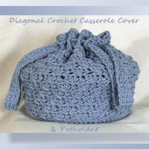 Diagonal Crochet Casserole Cover & Potholder
