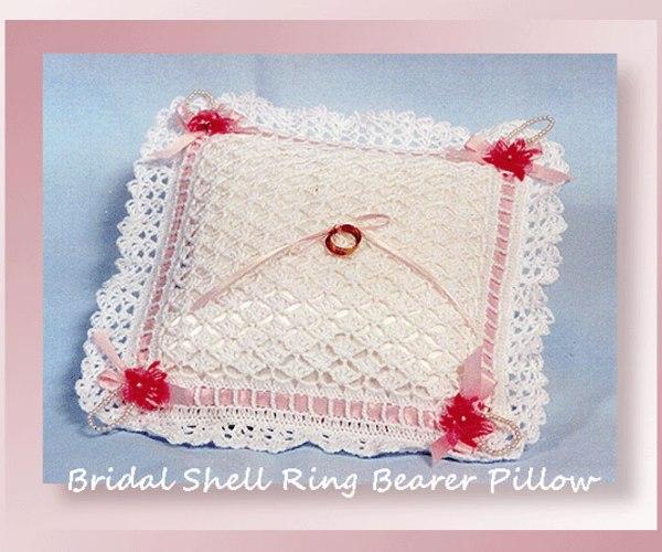 Bridal Shell Ring Bearer Pillow   <br /><br /><font color=