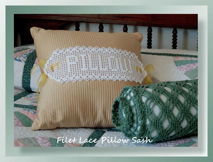 Free Filet Crochet Pillow Patterns : Filet Lace Pillow Sash - Crochet Pillow Patterns - Filet ...