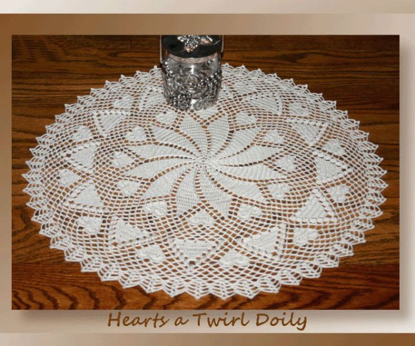 Hearts a Twirl Doily   <br /><br /><font color=
