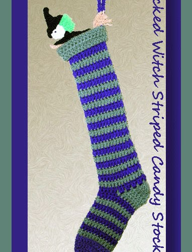 Wicked Witch Striped Candy Stocking   <br /><br /><font color=