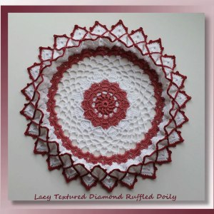 Lacy Textured Diamond Ruffled Doily