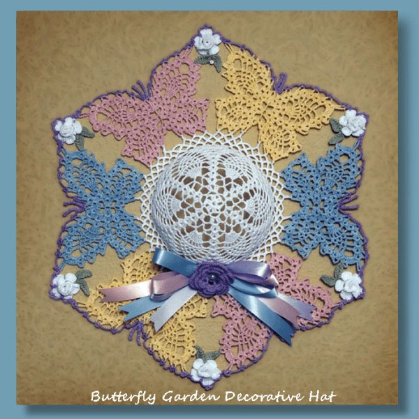 Free Crochet Patterns For Butterfly Doilies : Butterfly Garden Decorative Hat - Crochet Decorative Hat ...