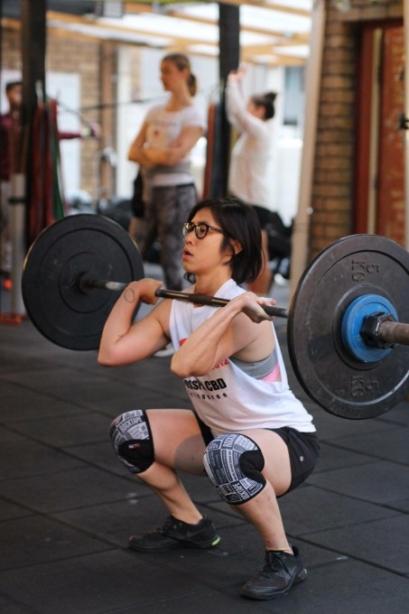 Now we don't you need you THIS low under the barbell, But DO get under it!! Go Cera!! Pic: Angela Clancy.