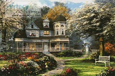 Free Fall Hp Widescreen Wallpapers Victorian Home Cross Stitch Pattern Scenery