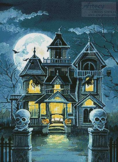 Cute Drawing Wallpaper Download Haunted House Cross Stitch Pattern Halloween