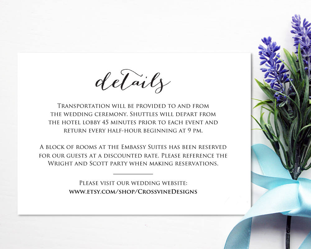 Wedding Details Card Insert Wedding Templates And Printables