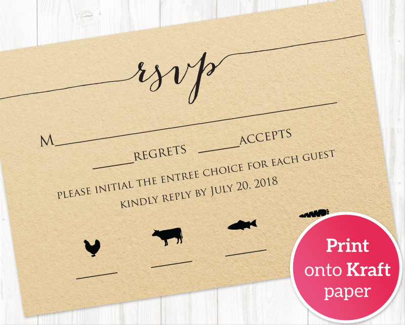 RSVP Card With Meal Icons · Wedding Templates and Printables