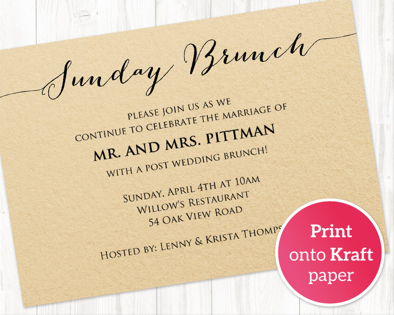 Sunday Brunch Details Card Insert · Wedding Templates and Printables - invitation information template