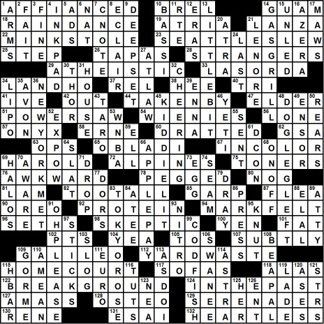 Sunday, August 16, 2015 - best of blueprint with four bases crossword clue