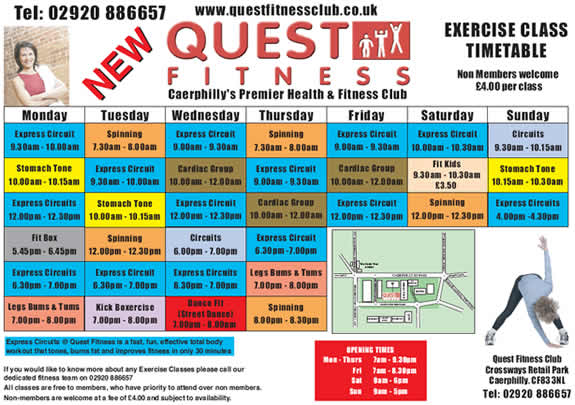 Crown Fitness Class Timetable Pontypridd South Wales - class timetable