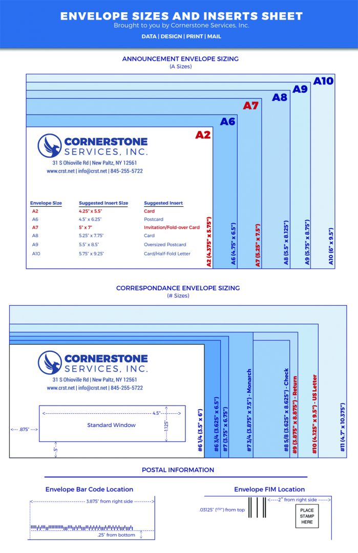 Envelope Sizes with Corresponding Insert Sizes Cornerstone - response envelope sizes