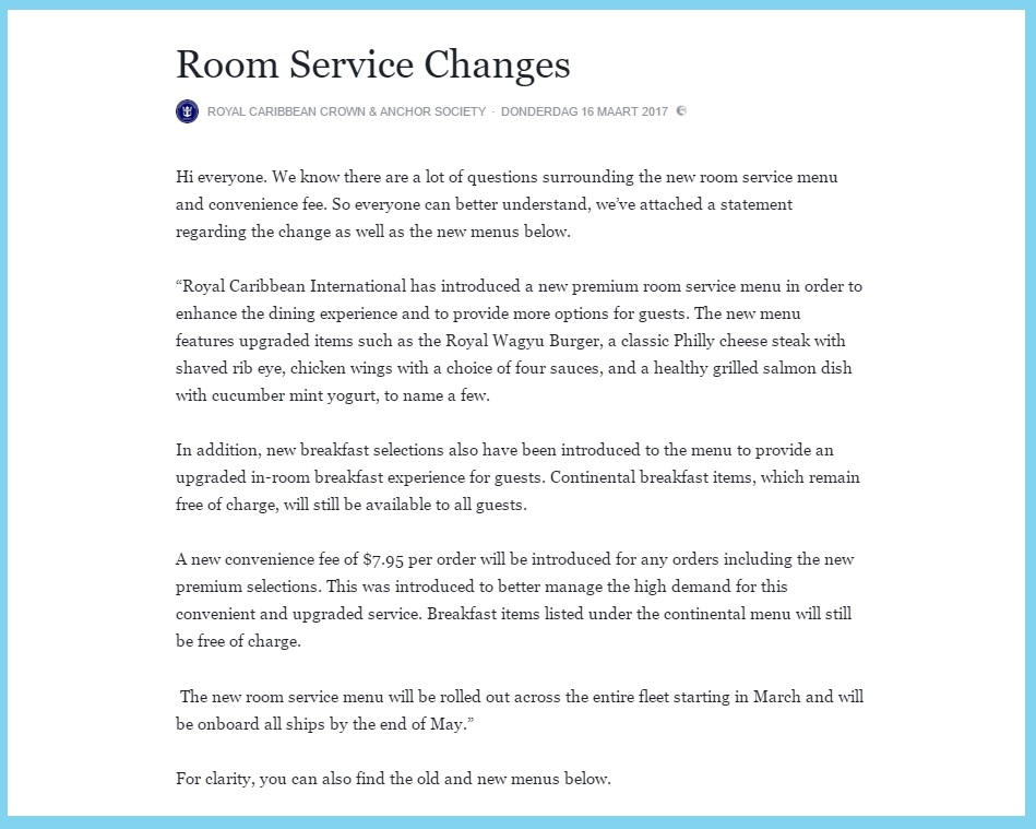 A Royal fee for room service CruiseToTravel