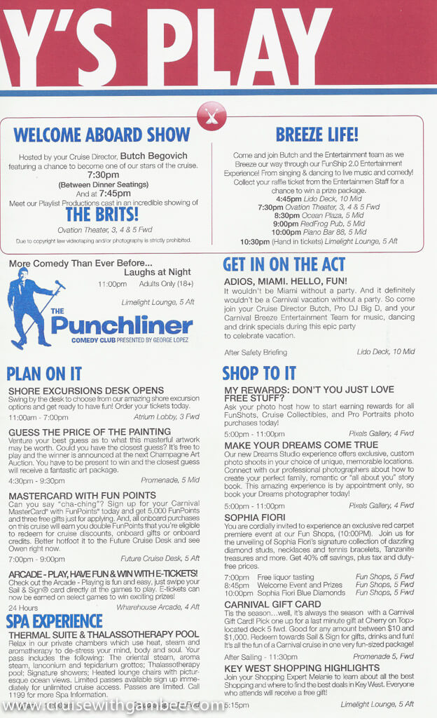 Carnival Breeze FunTimes Daily Itinerary \u2013 cruise with gambee