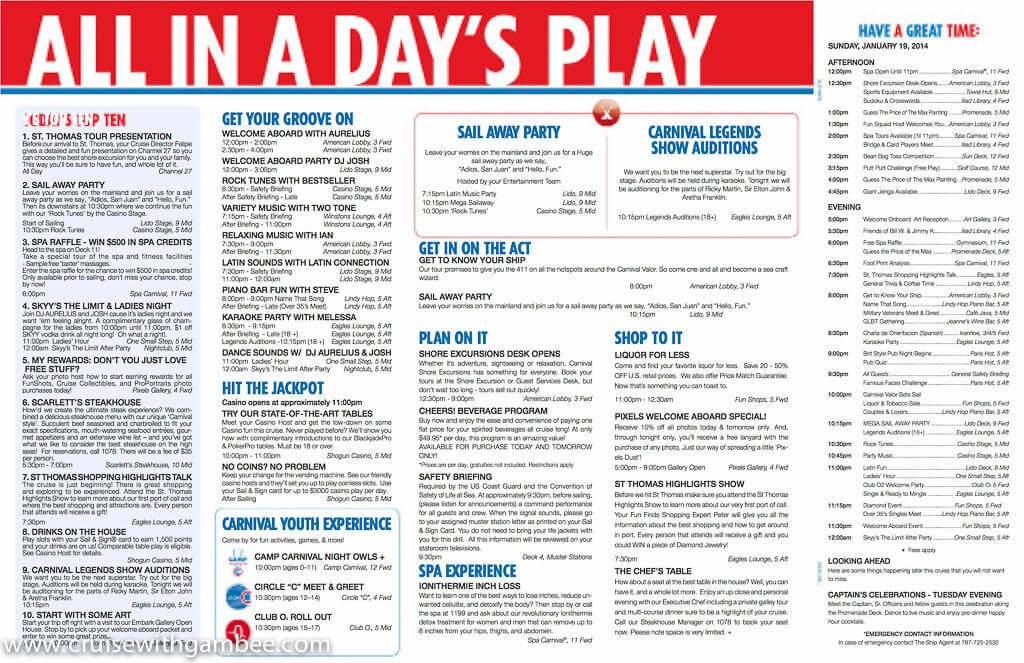 Carnival Valor Funtimes Daily Itinerary \u2013 cruise with gambee