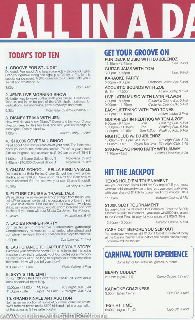 Carnival Valor Funtimes Daily Itinerary Cruise t Carnival