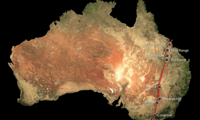World's longest continental volcano chain in Australia