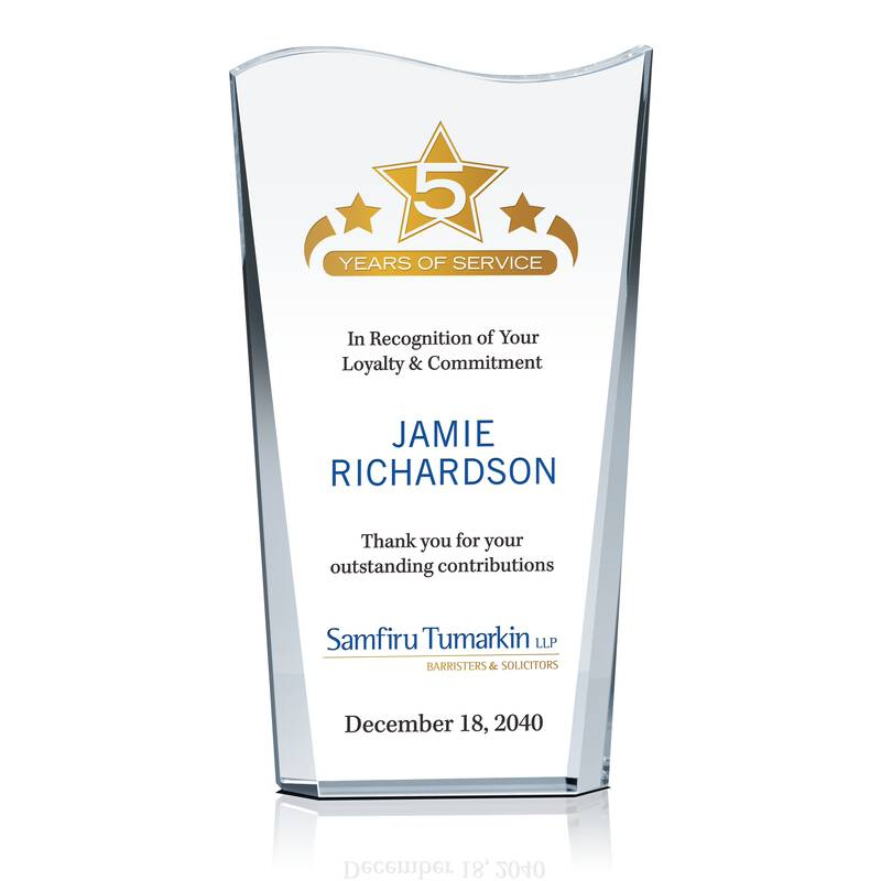 Employee Service Appreciation Award - Wording Sample by Crystal Central
