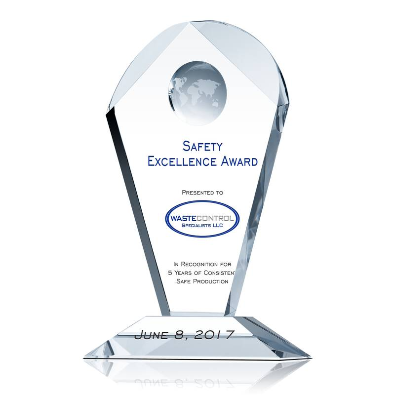 Safety Excellence Recognition Award - Wording Sample by Crystal Central