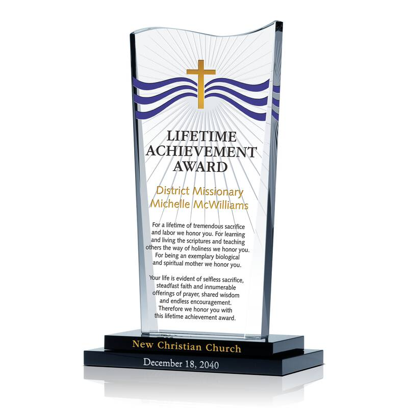 Christian Lifetime Achievement Award - Wording Sample by Crystal Central
