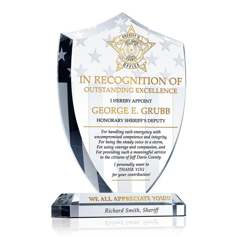 Sheriff\u0027s Deputy Appreciation Award - Wording Sample by Crystal Central