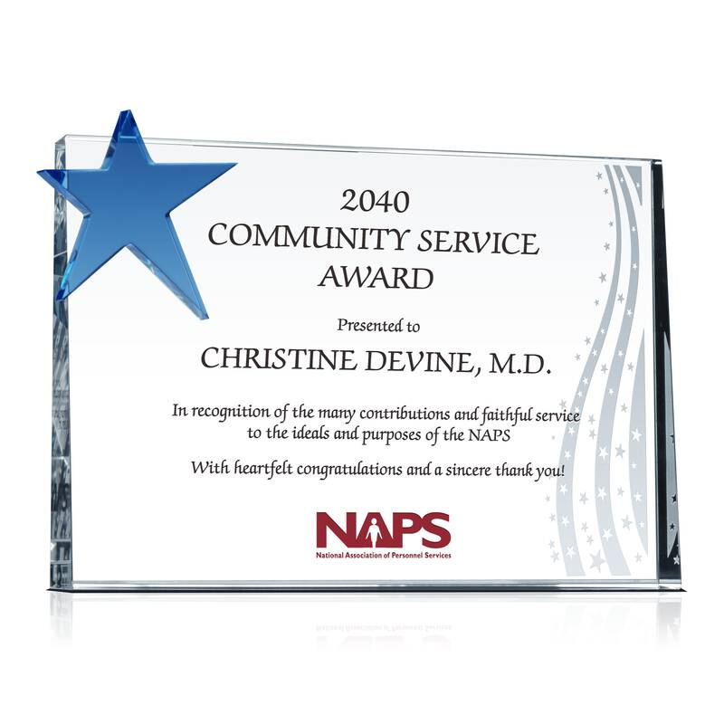 Community Service Appreciation Award - Wording Sample by Crystal Central