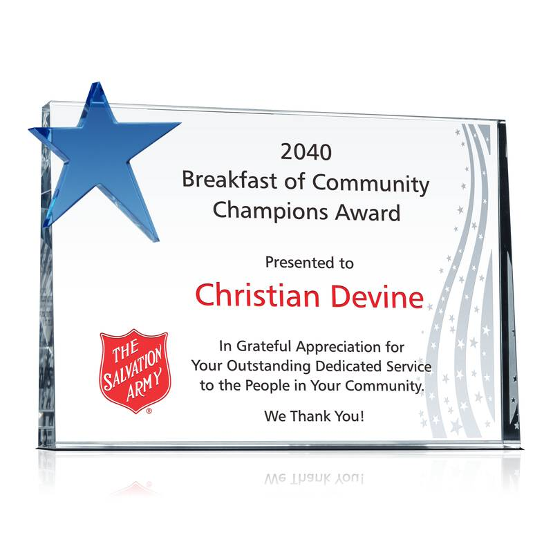 Community Champions Award Plaque - Wording Sample by Crystal Central