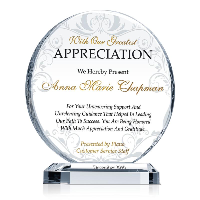 Board Member Appreciation Award - Wording Sample by Crystal Central