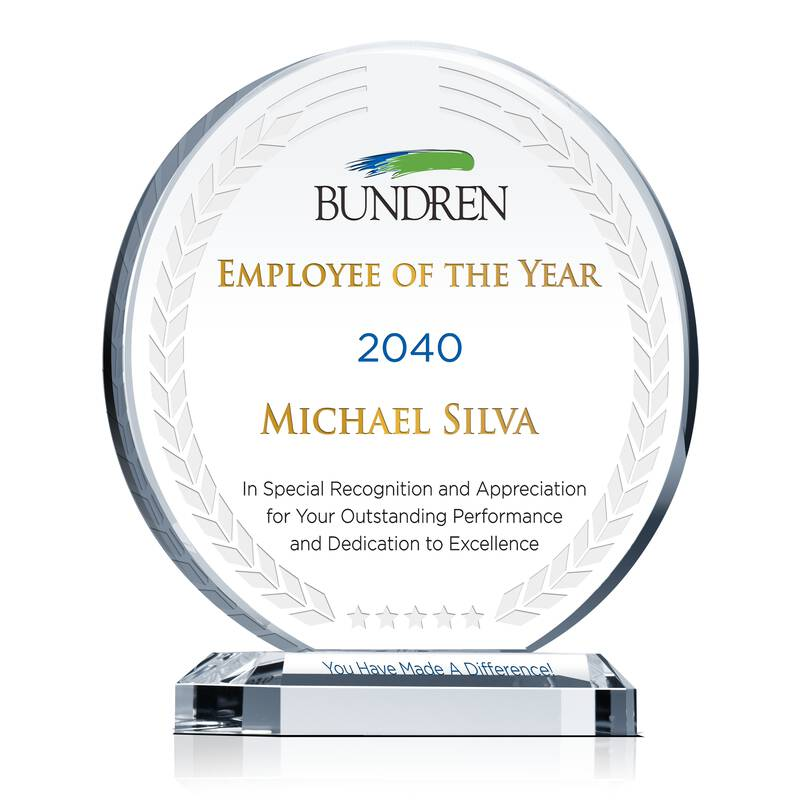 Company President Recognition Award - Wording Sample by Crystal Central
