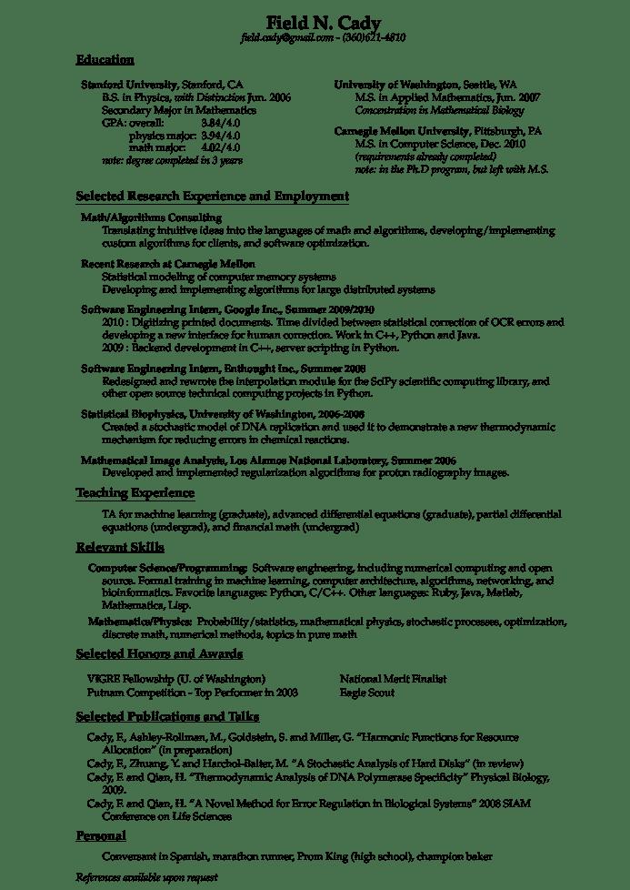 cmu resume sample