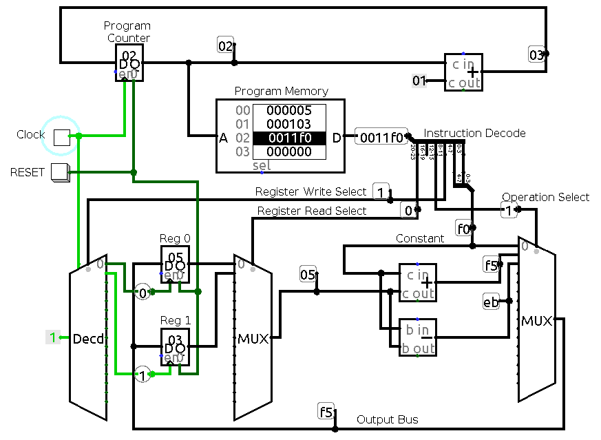 circuit diagram for simple fourregister cpu