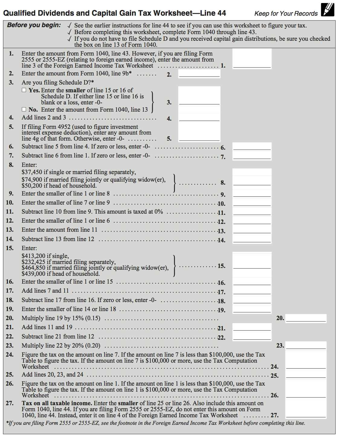 Qualified Dividends And Capital Gains Tax Worksheet