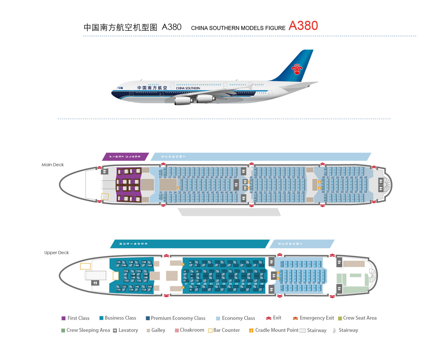 Cabin Graphic Model China Southern Airlines Co Ltd Csaircom