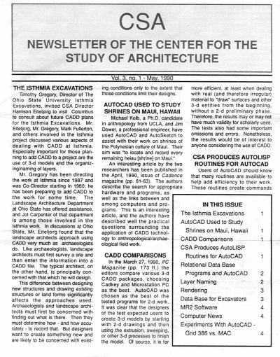 CSA Newsletter, May 1990: Page 1