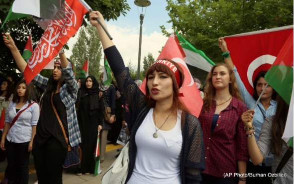 Turks rally against Israel's ground operation in Gaza Strip