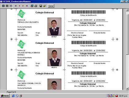 ServoEscolar XXI le permite registrar y accesar los datos de sus - formatos para gafetes