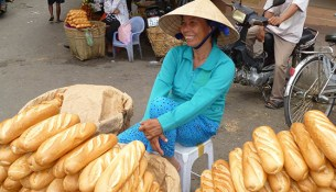 Bread vendor in Viet Nam