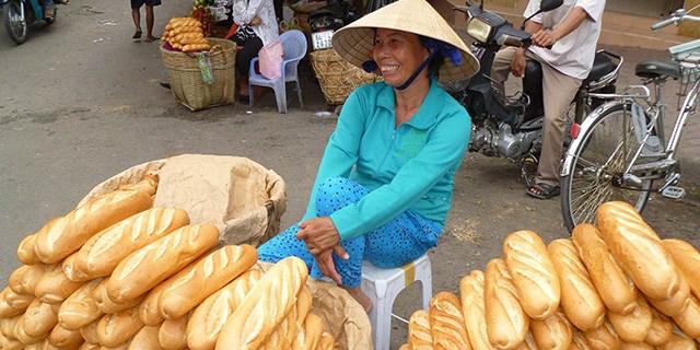 Bread vendor in Viet Nam