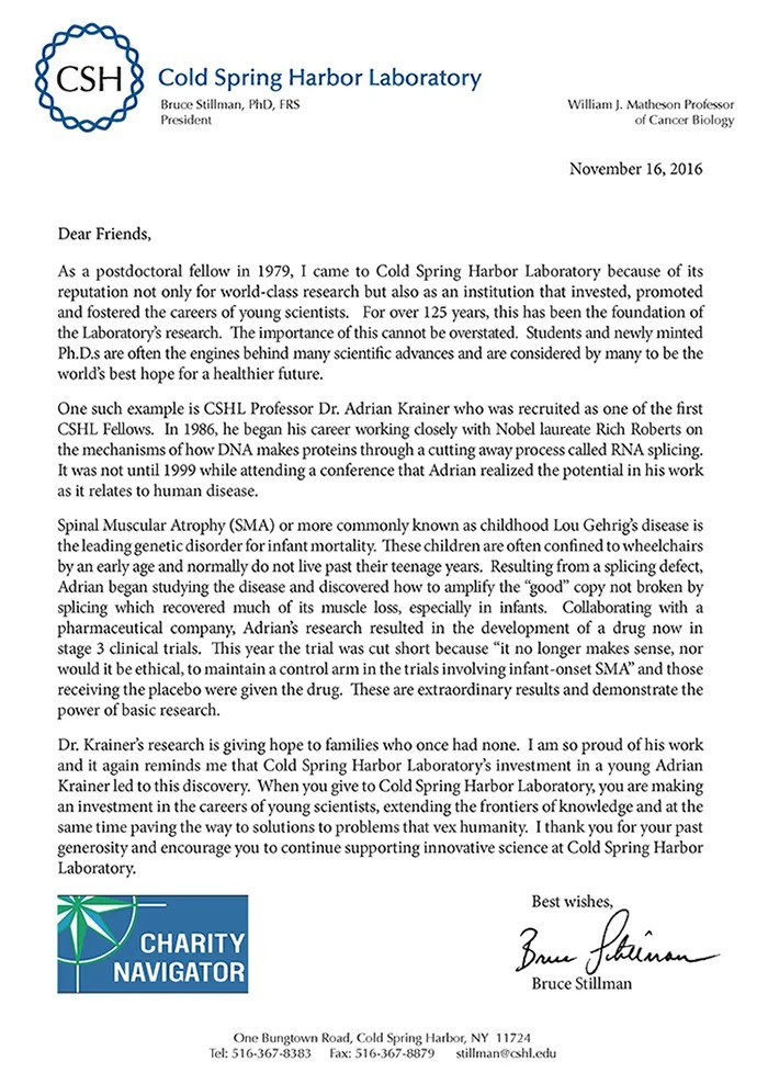 Annual Appeal letter - Cold Spring Harbor Laboratory - appeal letter