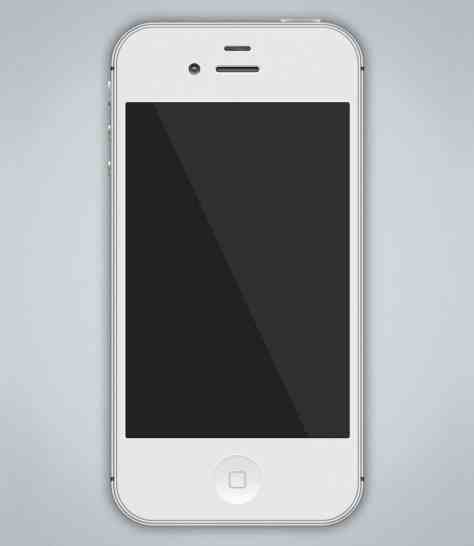Free White iPhone 4S PSD Mockup 326ppi