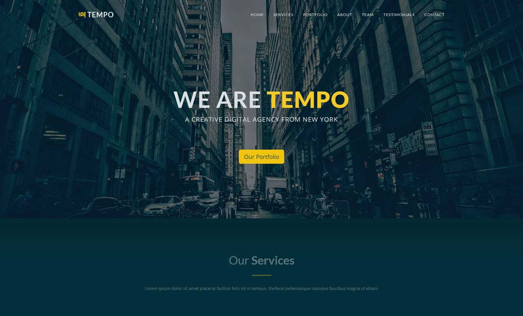 Tempo One Page Template designed by TemplateGarden - bootstrap one page template