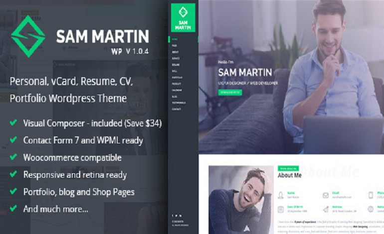 Sam Martin Personal vCard Resume WordPress Theme- CSSLight - resume wordpress theme