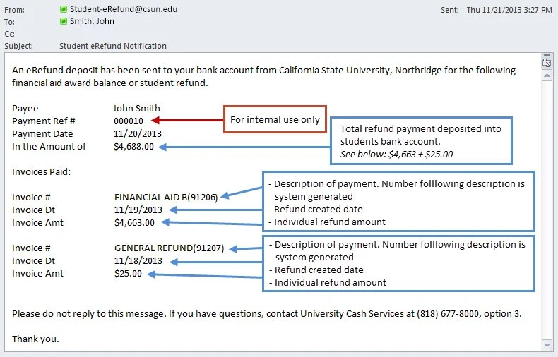 eRefund FAQs California State University, Northridge
